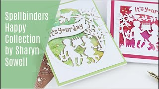 Spellbinders Happy Collection by Sharyn Sowell +Alcohol Ink Backgrounds