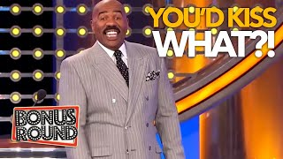 YOU'D KISS WHAT?! Steve Harvey Can't Believe Some Of These Answers On Family Feud USA