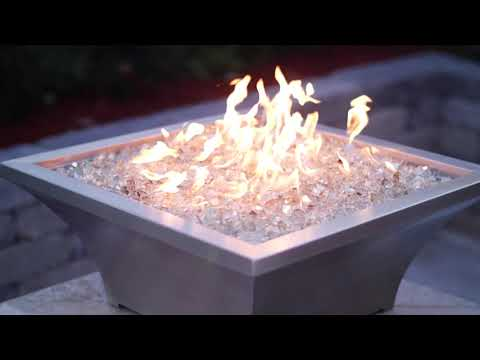BBQGuys Signature Series Lavelle Square High-Rise Column Fire Bowl - Stainless Steel