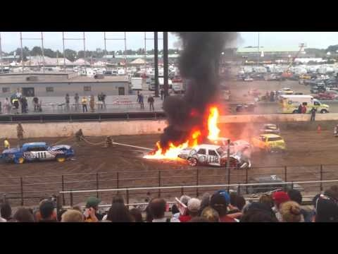New York State Fair Demo Derby Fire HD (720p)