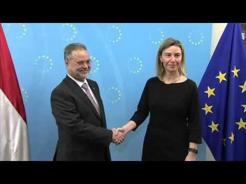 Federica Mogherini with Yemeni Foreign Minister Abdulmalik Al MEKHLAFI