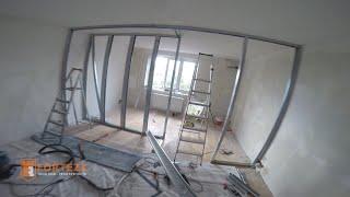 Частичный ремонт квартиры. Разделение комнаты на 2 части шкафом купе.