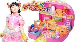 人形ごっこHUGっとプリキュアプリコーデハウスおしゃべりいっぱいプリキュアタウンおもちゃFunnykidsplayhousewithPrecureDollToy