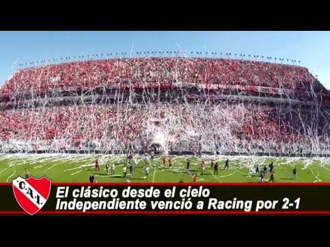 """""""El clásico desde el cielo: Independiente venció a Racing por 2 a 1"""" Barra: La Barra del Rojo • Club: Independiente"""