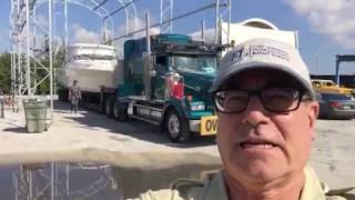 Loading a 40' Wellcraft onto transport trailer