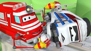 Vláčky pro děti - Záchranářský vlak Troy se postará o Tonyho - Vláček Troy ve Městě Aut