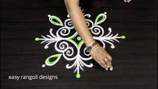 Two Small & Pretty Kolams By Suneetha     Simple Rangoli Designs With 3 Dots     Beginners  Muggulu
