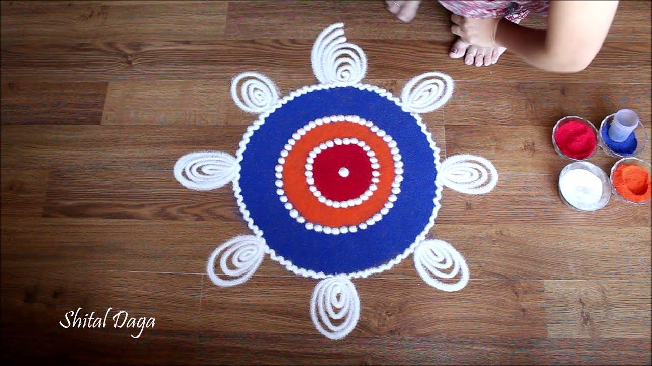 simple and innovative sanskar bharti rangoli design by shital daga