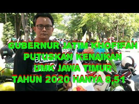 Gubernur Jatim, Khofifah Putuskan Kenaikan UMK Jawa Timur Tahun 2020 Hanya 8,51%