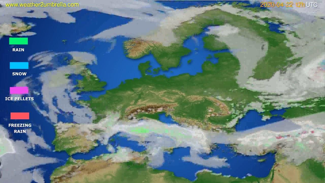 Precipitation forecast Europe // modelrun: 00h UTC 2020-04-22