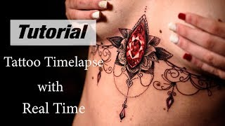 Sternum Tattoo  - Timelapse With Real Time