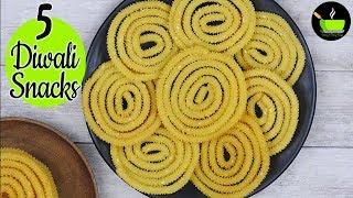 5 Easy And Quick Diwali Snacks | Diwali Recipes | Diwali Namkeen Recipe | 5 Diwali Snacks Recipes