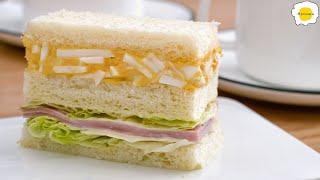 Breakfast Egg Salad Ham Sandwich 早餐鸡蛋火腿三明治 Sandwich au jambon aux œufs pour le petit-déjeuner