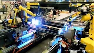 Sistema automatico para longarinas com conectores soldados
