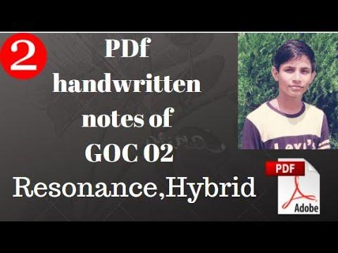   Handwritten pdf notes of   Class 11 chap 12 GOC 02   RESONANCE AND HYBRID.    organic Pdf notes  