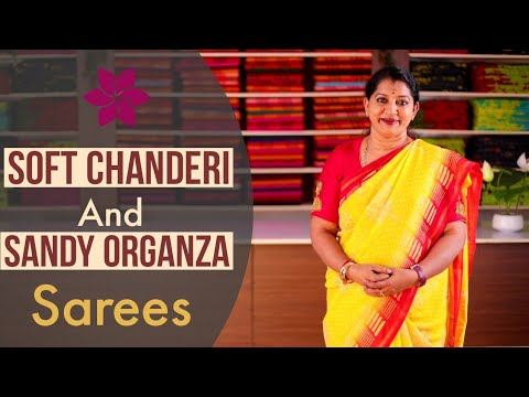 """<p style=""""color: red"""">Video : </p>New Soft Chanderi And Sandy Organza Sarees Collections    Gayathri Reddy 2020-11-28"""