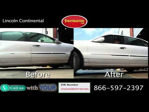 White Lincoln Continental Before and After Suspension Conversion