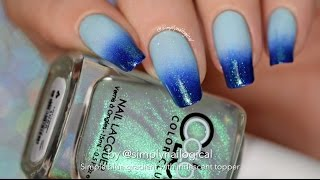 Easy Gradient Nail Art With Iridescent Top Coat