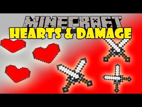 HEARTS & DAMAGE MOD - Mas corazones de Vida y fuerza! - Minecraft mod 1.7.2 y 1.7.10 Review Español