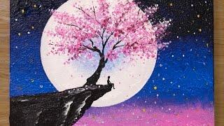 Cherry Blossom Under Moonlight / Acrylic Painting Technique #459