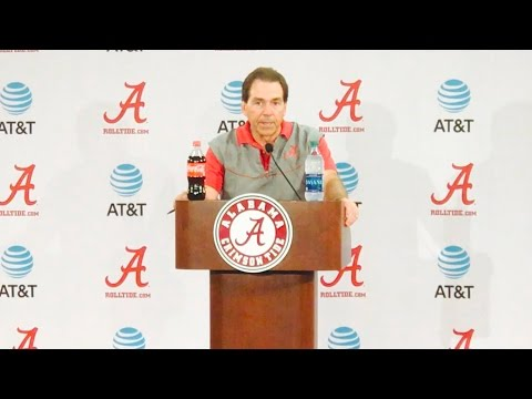 Alabama Head Football Coach Nick Saban talks to the media