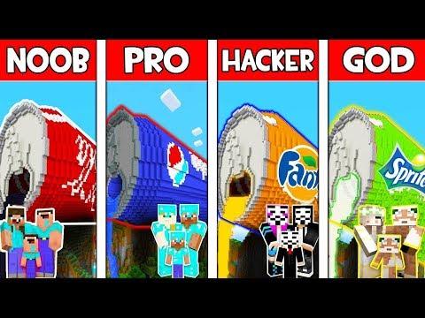 Minecraft NOOB vs PRO vs HACKER vs GOD : FAMILY SODA BASE in Minecraft! Animation