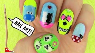 Nails, Nail Art Tutorial Using A Toothpick! 5 Nails, Nail Art Designs