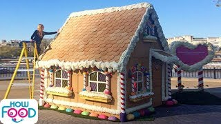 Life Sized Gingerbread House! Top 10 BIGGEST Food Buildings