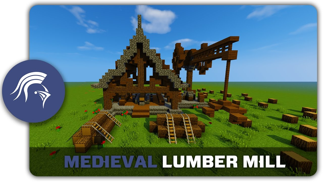 Minecraft Building Tutorial : How to build a Medieval Saw / Lumber Mill