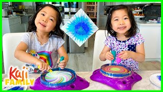 Spin Art Maker Toy Paint Challenge for Kids with Emma and Kate!!!
