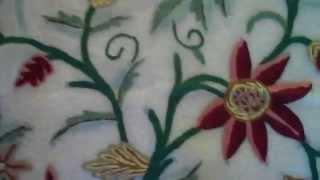 Crewel Fabric Flower Classic White Silk Organza