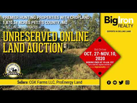 Land Auction 1,870.5+/- Acres Pettis County, MO