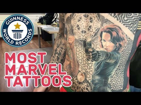 World Record for Most Tattoos of Marvel Comic Book Characters