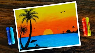 How to draw Sunset Scenery for Beginners with Oil Pastel step by step