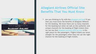 Allegiant Airlines Official Site Benefits That You Must Know