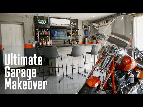 Motorcycle Man Cave / Garage Bar Makeover ... a gift to my Dad