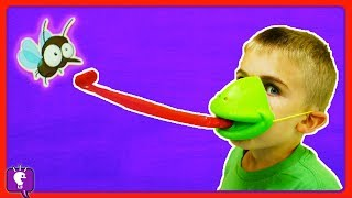 TIC TAC TONGUE Frog Face Board Game with HobbyKidsTV