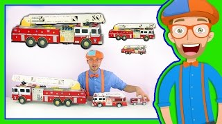 Learn Sizes with Fire Trucks | Blippi Toys Smallest to Biggest!