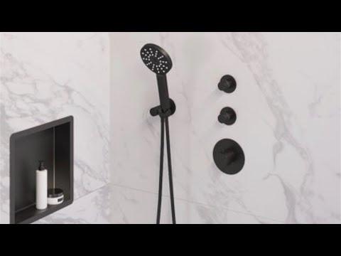 Brauer Black Edition thermostatische inbouw doucheset - mat zwart - hoofddouche 20cm - wandarm - ronde handdouche - met glijstang