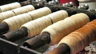 Street Food of Prague, Czech Republic. The Trdelník Sweet Pastry from Slovakia