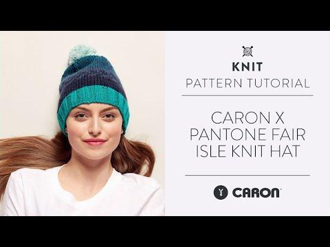 98670331960 Caron x Pantone Knit Fair Isle Hat Free Pattern