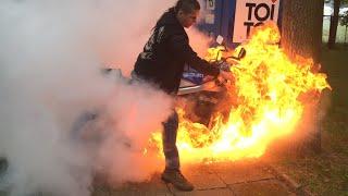 Motorcycle burnout, fire accident, oil duct malfunction. Palenie gumy razem z motocyklem.