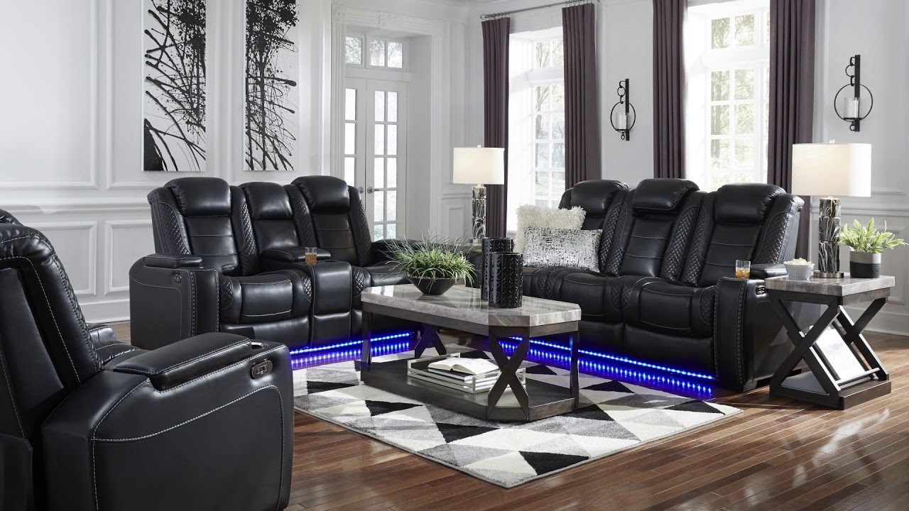 Magnificent Party Time Midnight Power Reclining Sofa With Adjustable Headrest Short Links Chair Design For Home Short Linksinfo