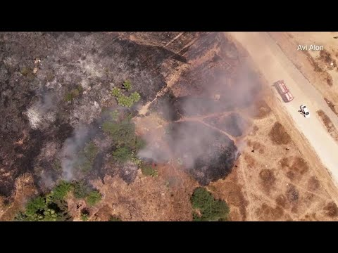 Drone video shows damage of Gaza rockets fired toward Israel