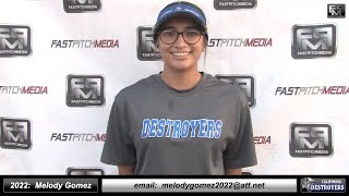 2022 Melody Gomez 4.0 GPA Athletic Slapper, Shortstop & Pitcher Softball Skills Video Ca Destroyers