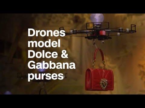 Drones model purses at Dolce & Gabbana fashion show