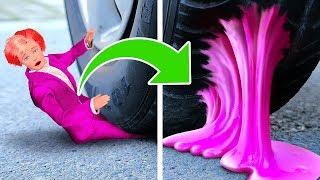Aplastando cosas con el auto! Pasta de dientes, cosas blandas y slime 123GO! Challenge