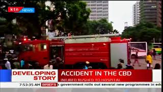 A 56 seater city shuttle bus involved in an accident in the CBD