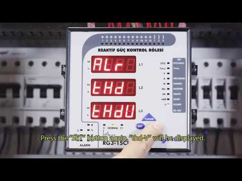 RG3-15 CLS Power Factor Controller Voltage Harmonics Alarm Settings