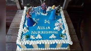 CARA MUDAH MENGHIAS KUE ULANGTAHUN DISNEY FROZEN / HOW TO DECORATED BIRTHDAY CAKE DISNEY FROZEN